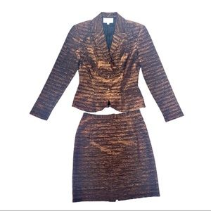CACHE metallic bronze jacket skirt suit size 4